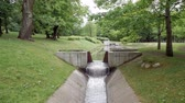 Modern artificial waterfall in the park, Tallinn, Estonia