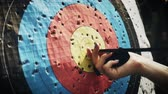 дартс : Hit the target in archery competition Стоковые видеозаписи