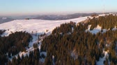season : Flying over winter, mountain snow covered winter landscape. Stock Footage