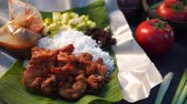spiced : nasi kukus, traditional malay steamed rice with tumeric fried chickens