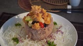 vermicelli : chinese ring basket with sweet and sour prawns Stock Footage