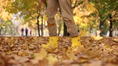 bacaklar : many autumn golden leaves feet girl boots Stok Video