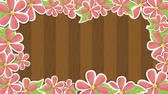 leaf : wooden background with flowers Video animation, HD 1080
