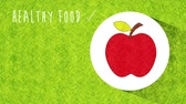вегетарианец : Apple Icon, Healthy food animation