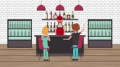 chladič : customers in bar shop bartender coolers shelves liquor animation hd