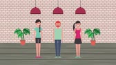teto : man and women standing in room with plants and ceiling lamps animation hd Vídeos