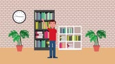 bibliotheque : young student in library bookshelf books clock plants interior animation hd Vidéos Libres De Droits