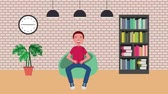 literatura : student man sitting in beanbag chair bookseller clock lamps animation hd