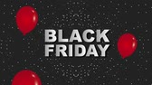 frase : red falling balloons black friday dark dotted background animation hd
