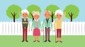 łysy : happy group elderly people in the backyard animation hd Wideo