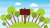 вывеска : wooden placard empty in the forest landscape animation hd Стоковые видеозаписи