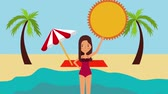 sonnenschirm : tourist woman in swimsuit on sea beach landscape animation Stock Footage