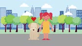 sertés : love girl with his dog in the city road animation hd Stock mozgókép