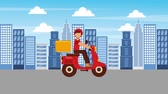 fornecer : food delivery man riding scooter in the city animation hd Stock Footage