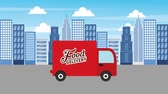 kurier : lebensmittel lieferwagen city service animation hd