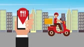 expressar : ordering online man in scooter food delivery city animation hd