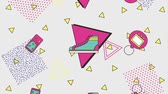behang : memphis vintage game sneaker abstracte geometrische animatie hd Stockvideo