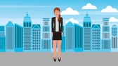 başarı : businesswoman standing with skirt in the city animation hd