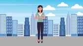 eleganckie : businesswoman in suit pants in the city animation hd