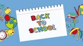 bússola : Back to school video animation with supplies and notebook paper, flay style