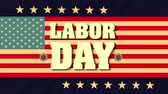 estados : labor day card with USA flag and font ,4k video animation