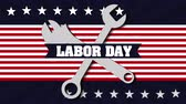 plakát : labor day card with USA flag and wrench keys,4k video animation Dostupné videozáznamy