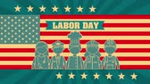 randka : labor day card with USA flag and cityscape ,4k video animation Wideo