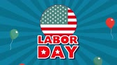 policja : celebration labor day with workers group animation ,4k video Wideo