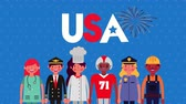 pilote : celebration labor day with workers group animation ,4k video Vidéos Libres De Droits