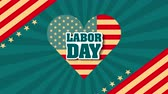 labor day card with USA flag and heart love ,4k video animation