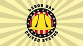 labor day seal lace with USA flag and helmet ,4k video animation Wideo