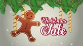 biscoitos : happy merry christmas sale with ginger cookie and leafs ,hd video animation