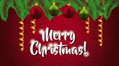 ヒイラギ : happy merry christmas card with balls hanging decoration ,hd video animation 動画素材