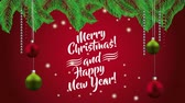 azevinho : happy merry christmas card with balls hanging decoration ,hd video animation Stock Footage