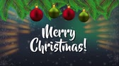 pohlednice : happy merry christmas card with balls hanging decoration ,hd video animation Dostupné videozáznamy