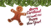 biscoitos : happy merry christmas card with sweet ginger cookie ,hd video animation