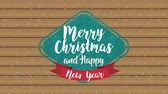 caligrafia : happy merry christmas card frame with ribbon ,hd video animation Stock Footage