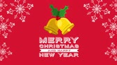 ヒイラギ : happy merry christmas card with bells ,hd video animation 動画素材
