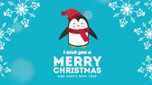 uitnodiging : happy merry christmas card with little penguin ,hd video animation Stockvideo