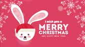 konijntje : happy merry christmas card with little rabbit ,hd video animation