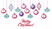 pohlednice : happy merry christmas card with balls hanging ,hd video animation