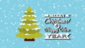 pohlednice : happy merry christmas card with pine tree ,hd video animation