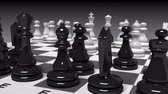 chess board : chess board with chessmen in motion with alpha Stock Footage