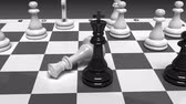 chess board : chess board with chessmen loop with alpha Stock Footage