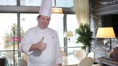 Happy chef of luxury restaurantrestaurant smiling at camera Стоковые видеозаписи