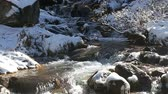 spring mountain river waterfall bubbling and runs through the winter landscape Стоковые видеозаписи