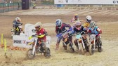 sıçramalarına : Racing Motorcycles Sports Motocross Stok Video