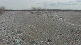 A large landfill of polluting the environment. Aerial surveys of polluted territory. Stock Footage