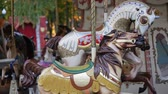 Childrens carousel. The territory of the park. National French carousel. Amusement park. Carousel does not work. Stock Footage