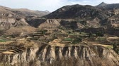 tradice : ancient farming terraces in Colca river canyon in Peru, panoramic footage